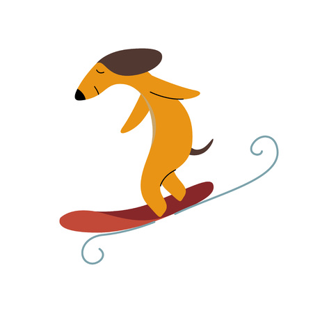 Purebred Brown Dachshund Dog Surfer Catching Wave, Funny Playful Pet Animal Cartoon Character Vector Illustration