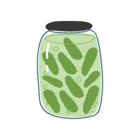 Pickled Cucumbers in Glass Jar, Zero Waste Reusable Object, Eco lifestyle Concept Vector Illustration Illusztráció