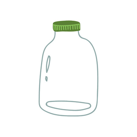 Glass, Jar, Zero Waste Reusable Object, Eco lifestyle Concept Vector Illustration