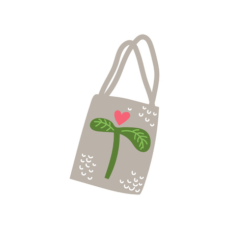 Textile Tote Bag, Zero Waste Reusable Object, Eco lifestyle Concept Vector Illustration on White Background.