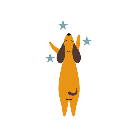 Purebred Brown Dachshund Dog with Stars, Funny Playful Pet Animal Cartoon Character Standing on Two Legs, Back View Vector Illustration Illustration