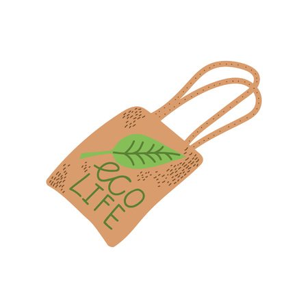 Reusable Eco Bag, Zero Waste Object, Eco lifestyle Concept Vector Illustration on White Background.
