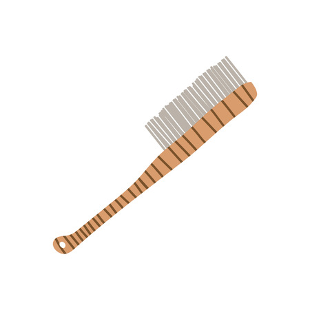 Wooden Scrub Brush with Handle, Zero Waste Reusable Object, Eco lifestyle Concept Vector Illustration