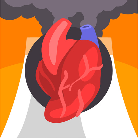 Human Heart, People Suffering from Fine Dust, Industrial Smog, Environmental Air Pollution, Heart on Background of Industrial Landscape and Clouds of Smoke Vector Illustration