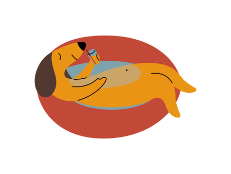 Purebred Brown Dachshund Dog Floating on Inflatable Inner Ring, Funny Playful Pet Animal Cartoon Character Vector Illustration