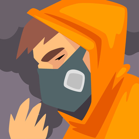 Man Wearing Protective Face Mask, People Suffering from Fine Dust, Industrial Smog, Industry Air Pollution, Vector Illustration