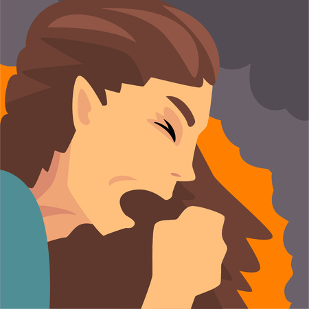 Woman Coughing Because Suffering from Fine Dust, Industrial Smog, Industry Air Pollution, Vector Illustration Ilustração