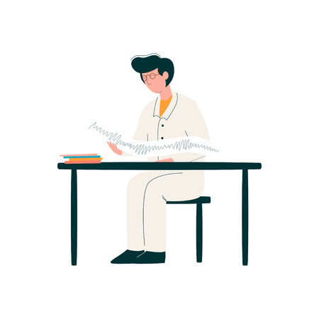 Male Doctor Character Working at Desk, Medicine Professional Character in Uniform Vector Illustration on White Background.