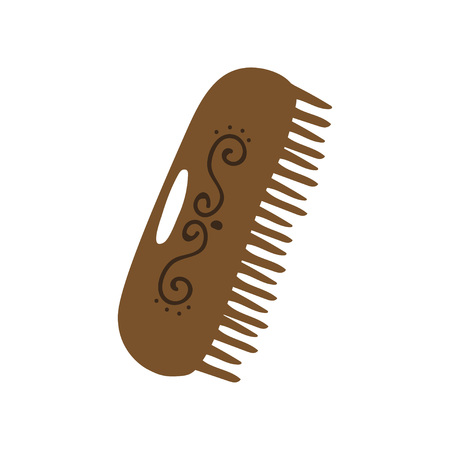 Wooden Comb, Zero Waste Reusable Object, Eco lifestyle Concept Vector Illustration on White Background.