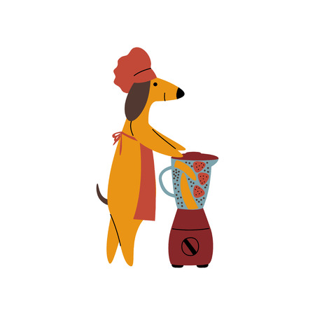 Purebred Brown Dachshund Dog Making Healthy Smoothie Using Mixer, Funny Playful Pet Animal Cartoon Character Vector Illustration