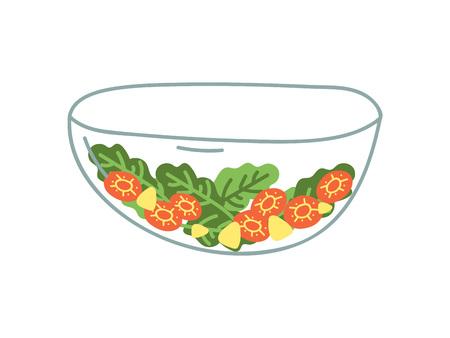 Transparent Glass Salad Bowl of Fresh Vegetables, Zero Waste Reusable Object, Eco lifestyle Concept Vector Illustration on White Background.