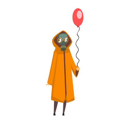 Woman Wearing Protective Gas Mask and Coat Standing with Balloon, People Suffering from Industrial Smog Vector Illustration on White Background.