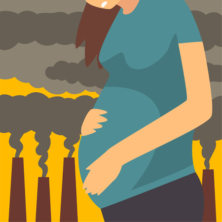 Pregnant Woman Suffering from Fine Dust, Industrial Smog, Environmental Air Pollution, Woman on Background of Industrial Landscape and Clouds of Smoke Vector Illustration Illustration