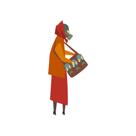Woman Wearing Protective Gas Mask Walking in City, People Suffering from Industrial Smog Vector Illustration on White Background.