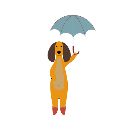 Purebred Brown Dachshund Dog Wearing Rubber Boots Standing Under Umbrella, Funny Playful Pet Animal Cartoon Character Vector Illustration Illustration