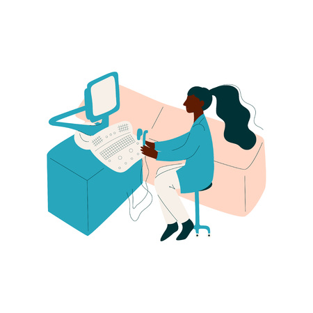Female African American Doctor Working at Office Desk on Computer, Medicine Professional Character in Uniform Vector Illustration on White Background.