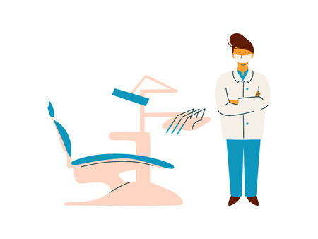 Professional Doctor Standing Next to Dentist Chair, Medicine Professional Character in Uniform Vector Illustration on White Background. Illustration