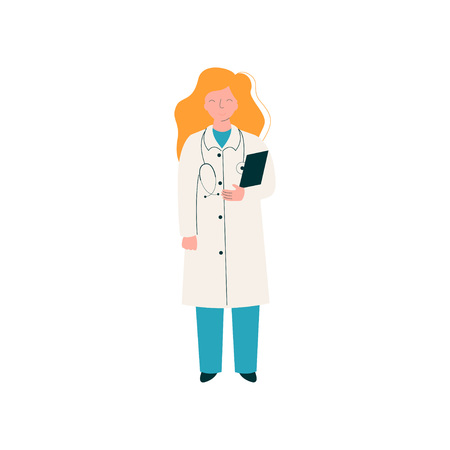 Female Doctor Character with Stethoscope and Clipboard, Worker of Medical Clinic or Hospital in Uniform Vector Illustration on White Background. Ilustracja