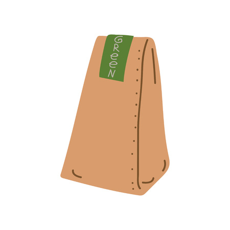 Grocery Paper Bag, Zero Waste Reusable Object, Eco lifestyle Concept Vector Illustration on White Background.