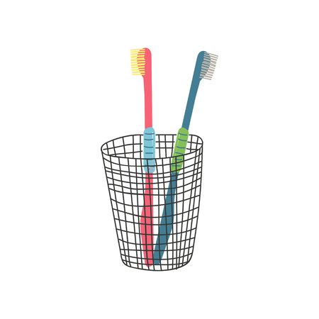 Two Toothbrushes in Metal Cup, Zero Waste Reusable Object, Eco lifestyle Concept Vector Illustration on White Background. Illustration