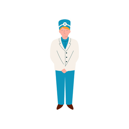 Professional Nurse or Doctor Character, Worker of Medical Clinic or Hospital in Uniform Vector Illustration on White Background.