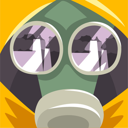 Gas Mask, People Suffering from Fine Dust, Industrial Smog, Industry Air Pollution, Vector Illustration