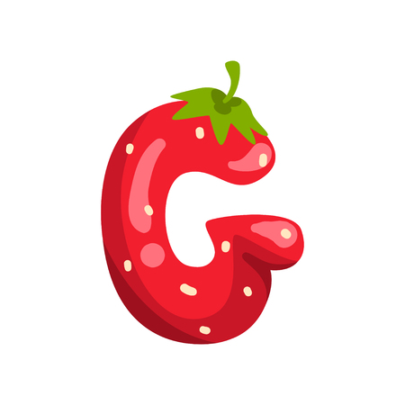 Letter G of English alphabet made from ripe fresh srawberry, bright red berry font vector Illustration isolated on a white background.