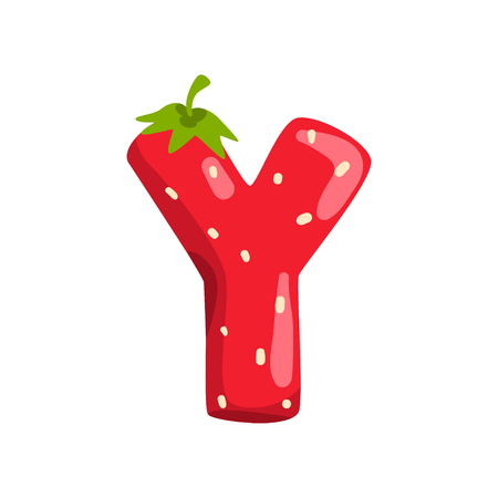 Letter Y of English alphabet made from ripe fresh srawberry, bright red berry font vector Illustration isolated on a white background.