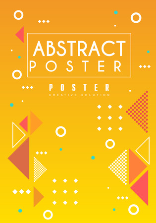 Abstract poster, bright placard template in orange color with geometric shapes, creative graphic design for banner, invitation, flyer, cover, brochure vector Illustration, web design