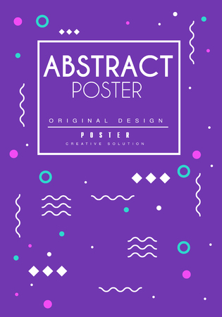 Blue abstract poster, bright placard template with geometric shapes, creative graphic design for banner, invitation, flyer, cover, brochure vector Illustration, web design