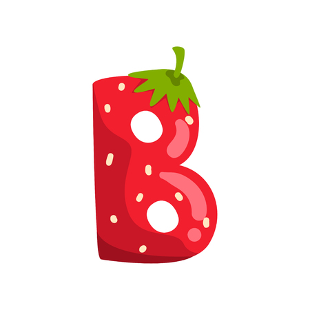 Letter B of English alphabet made from ripe fresh srawberry, bright red berry font vector Illustration isolated on a white background.