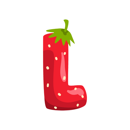 Letter L of English alphabet made from ripe fresh srawberry, bright red berry font vector Illustration isolated on a white background.
