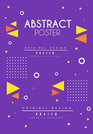 Abstract poster original design, blue bright placard template with geometric shapes, creative graphic design for banner, invitation, flyer, cover, brochure vector Illustration, web design