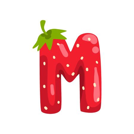 Buchstabe M des englischen Alphabets aus reifen frischen Erdbeeren, leuchtend rote Beeren Schriftart Vektor Illustration isoliert auf weißem Hintergrund.