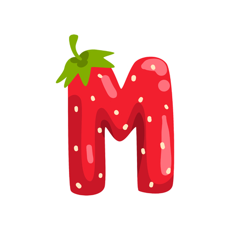 Letter M of English alphabet made from ripe fresh srawberry, bright red berry font vector Illustration isolated on a white background.