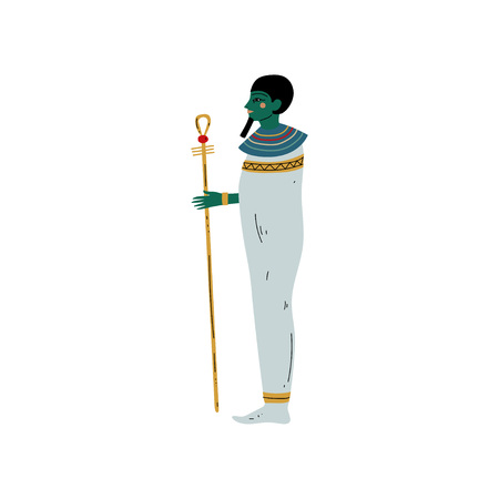 Osisris God, Symbol of Ancient Egyptian Culture Vector Illustration on White Background.