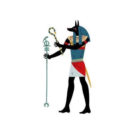 Anubi dio della morte, simbolo dell'antica cultura egiziana illustrazione vettoriale su sfondo bianco.