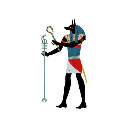 Anubis God of Death, Symbol of Ancient Egyptian Culture Vector Illustration on White Background. Çizim