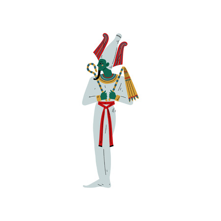 Osiris God of Underworld, Egyptian Ancient Culture Symbol Vector Illustration on White Background.