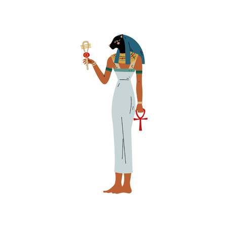 Bast Goddess of Joy, Fun and Love, Female Beauty, Fertility, Hearth and Cats, Symbol of Ancient Egyptian Culture Vector Illustration on White Background. Illustration