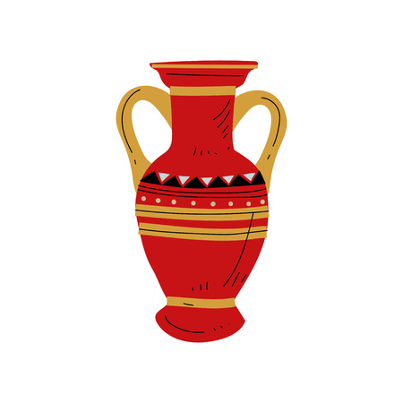 Red Ancient Vase, Symbol of Traditional Egyptian Culture Vector Illustration  イラスト・ベクター素材