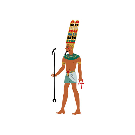 Amon, God of Black Heavenly Space, Air, Symbol of Ancient Egyptian Culture Vector Illustration on White Background. Stock Illustratie