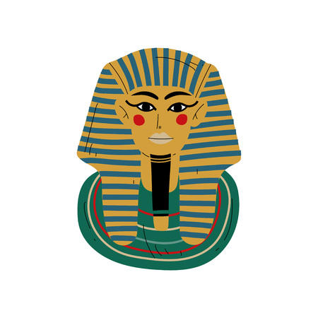 Tutankhamun Burial Mask, Pharaoh of Ancient Egypt Vector Illustration on White Background.