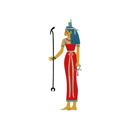 Seshat, Goddess of Art, Literature, Destiny and Counting, Symbol of Ancient Egyptian Culture Vector Illustration on White Background.