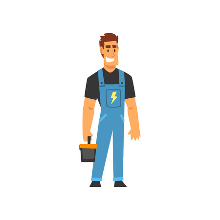 Smiling Professional Electrician with Toolbox, Electric Man Character in Blue Overalls at Work Vector Illustration on White Background. Иллюстрация