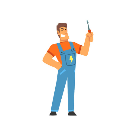 Smiling Professional Electrician with Screwdriver, Electric Man Character in Blue Overalls at Work Vector Illustration on White Background.