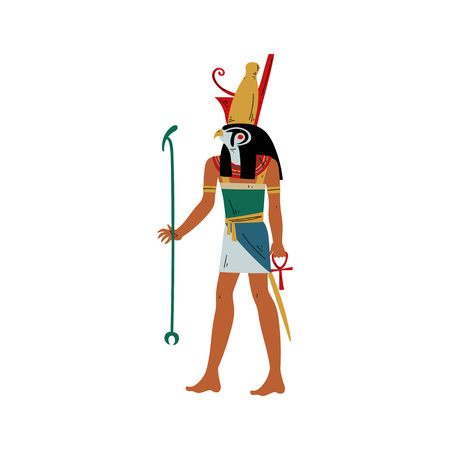 Horus God of Sky and Sun with Head of Falcon, Symbol of Ancient Egyptian Culture Vector Illustration on White Background.