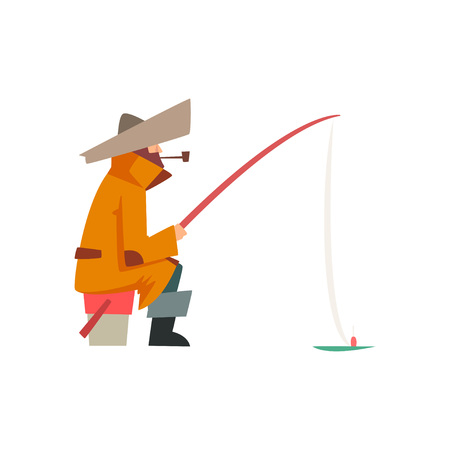 Fisherman Character Wearing Warm Clothing Sitting on Bucket with Fishing Rod Vector Illustration on White Background.