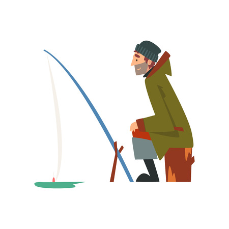 Fisherman Character Wearing Warm Clothing Sitting on Shore with Fishing Rod, Man Fishing on Frozen River Vector Illustration on White Background.
