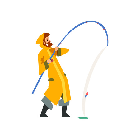 Fisherman Pulling Big Fish with Fishing Rod, Fishman Character in Raincoat and Rubber Boots Vector Illustration on White Background. Illustration